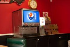 Pepsi fontanna przy restauracją zdjęcia royalty free