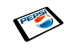 Pepsi logo on ipad screen. With white background royalty free stock photos