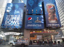 Pepsi Official Soft Drink of Super Bowl XLVIII billboard on Broadway during Super Bowl XLVIII week in Manhattan. NEW YORK - JANUARY 30 Pepsi Official Soft Drink stock image