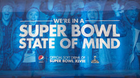 Pepsi Official Soft Drink of Super Bowl XLVIII billboard on Broadway during Super Bowl XLVIII week in Manhattan Royalty Free Stock Photos