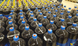 Pepsi soda bottle drinks in Carrefour supermarket store, Piatra Neamt city Royalty Free Stock Image