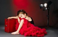 Pequeña actriz durmiente fotografía de archivo libre de regalías
