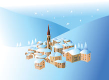 Pequeña aldea del invierno Libre Illustration