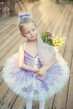 Pequeña bailarina adorable en la luz del otoño Fotografía de archivo libre de regalías