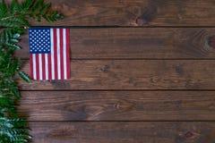 Pequeña bandera americana con el helecho en fondo de madera rústico envejecido, resistido fotos de archivo