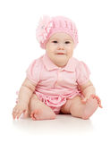 Pequeña bebé-muchacha linda en alineada rosada Fotografía de archivo