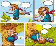 Pequeña bruja contra un árbol Ilustración del Vector