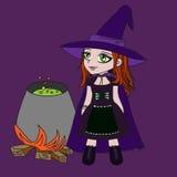 Pequeña bruja en alineada púrpura Fotos de archivo