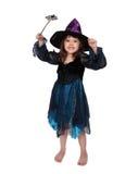 Pequeña bruja linda aislada en blanco Foto de archivo libre de regalías