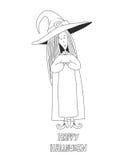 Pequeña bruja linda Cartel de Víspera de Todos los Santos Fotos de archivo