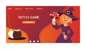 Pequeña bruja linda de la muchacha de Halloween con el partido de la tarjeta del cartel del invintation del saludo del feliz Hall libre illustration