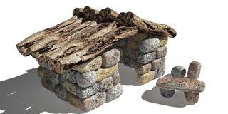 Pequeña cabaña de piedra libre illustration