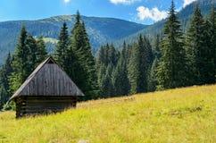 Pequeña cabaña del pueblo en el valle de la montaña Foto de archivo