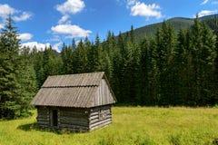 Pequeña cabaña del pueblo en el valle de la montaña Imagenes de archivo
