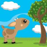 Pequeña cabra linda en un paisaje del campo ilustración del vector