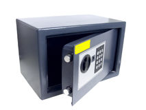 Pequeña caja gris con el bloqueo del código. Imagen de archivo
