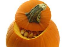 Pequeña calabaza anaranjada con las semillas Imágenes de archivo libres de regalías