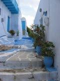 Pequeña calle blanca característica de Grecia con los floreros, las puertas y los balcones coloreados de azul Isla de los Milos G Imagenes de archivo