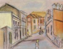 Calle en una ciudad Terachina stock de ilustración