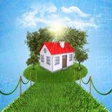 Pequeña casa con la tierra ilustración del vector