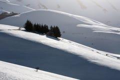 Pequeña casa con los árboles alrededor en un paisaje del invierno Imagenes de archivo