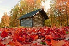 Pequeña casa de madera en el bosque - el otoño coloreó paisaje Foto de archivo