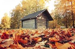Pequeña casa de madera en el bosque - paisaje colorido del otoño Imagenes de archivo