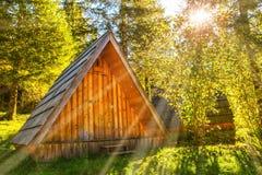 Pequeña casa de madera natural ocultada lejos en un bosque de color verde oscuro en un día soleado de la mañana fotografía de archivo