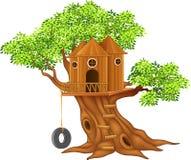 Pequeña casa en el árbol linda libre illustration