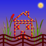 Pequeña casa en el pueblo Imagen de archivo