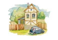 Pequeña casa en el pueblo y un coche Imagen de archivo libre de regalías