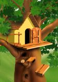 Pequeña casa en la tapa del árbol Fotos de archivo libres de regalías