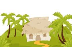 Pequeña casa en selvas salvajes Paisaje natural con las palmeras, la hierba verde y la casa de planta baja Diseño plano del vecto ilustración del vector