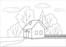 Pequeña casa en un borde de madera, contornos stock de ilustración