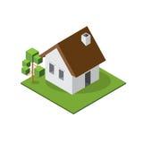 Pequeña casa isométrica Foto de archivo libre de regalías