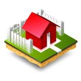 Pequeña casa isométrica roja en hierba verde Fotos de archivo libres de regalías