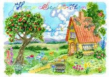 Pequeña casa linda con el manzano, bien, flores y letras contra campo y las nubes verdes libre illustration