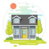 Pequeña casa y fondo rural hermoso de la escena del día del paisaje en la línea plana estilo del arte libre illustration