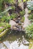 Pequeña cascada artificial en jardín Imagen de archivo