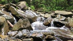 Pequeña cascada en el río de la montaña almacen de video
