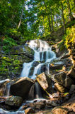 Pequeña cascada hermosa con varias cascadas sobre ston grande Fotografía de archivo