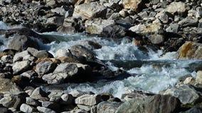 Pequeña cascada que fluye lejos almacen de video