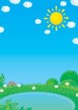 Pequeña charca en verano ilustración del vector