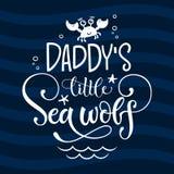 Pequeña cita del lobo del mar del papá Frase grotesca exhausta del logotipo del vector de las letras del estilo de la escritura d imagen de archivo