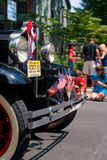 Pequeña ciudad 4ta del desfile de julio Imagenes de archivo