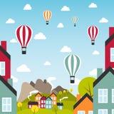 Pequeña ciudad con los balones de aire libre illustration