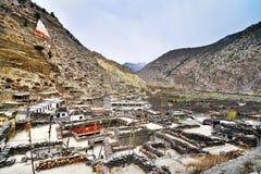 Pequeña ciudad de Marpha en un área más baja del mustango Imagen de archivo