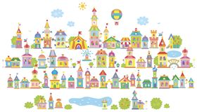 Pequeña ciudad del juguete stock de ilustración