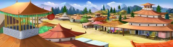 Pequeña ciudad en China antigua Opinión del panorama stock de ilustración