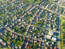 Pequeña ciudad en la visión aérea Foto de archivo libre de regalías
